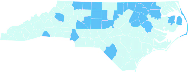 map of NC counties served
