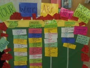 bulletin board with colorful hand-written notes