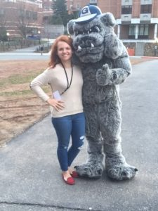 woman with mascot